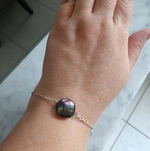 Jewelry - Black coin pearl sterling bracelet- layering!